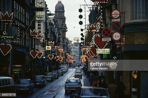 Christmas decorations in Amsterdam capital of the Netherlands 1971