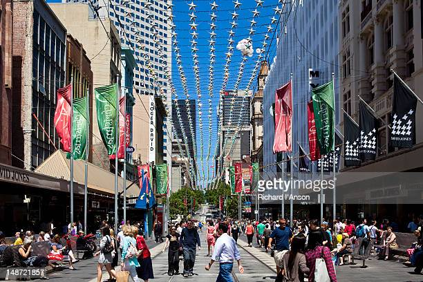Christmas decorations in Bourke Street Mall.