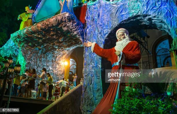 Ho Chi Minh City, Vietnam - December, 23, 2016 : christmas decorations in Chirst Church district Binh Tan, Saigon