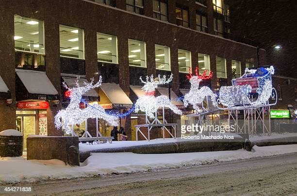 Christmas decorations in downtown Toronto the city of Toronto under an important snow fall during winter of 20132014
