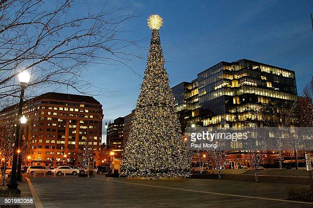 Christmas decorations in the City Center shopping area on December 19 2015 in Washington DC