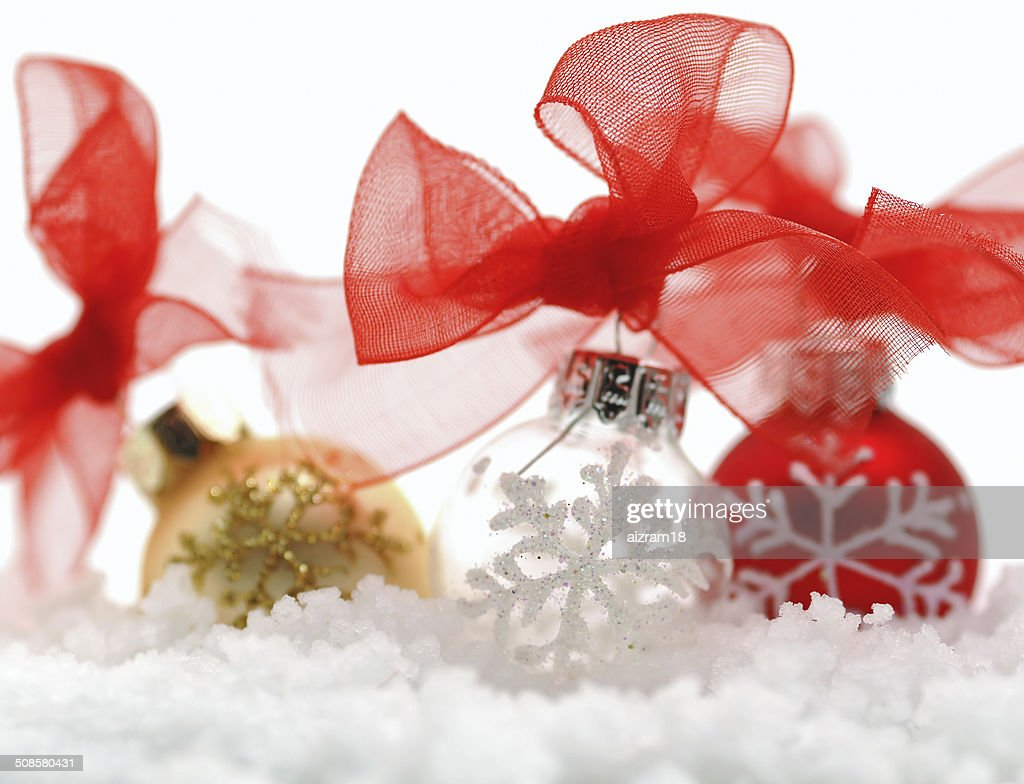 Christmas decorations in the snow : Stock Photo