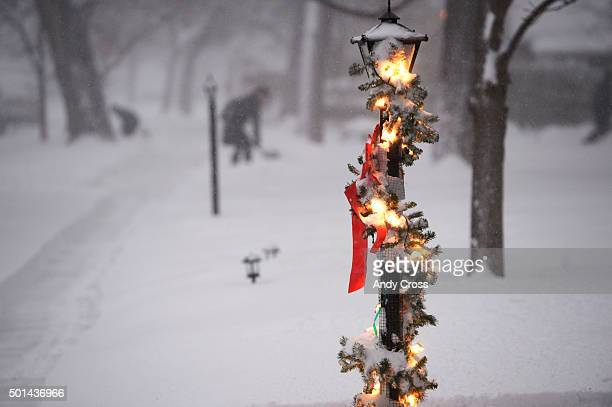 Christmas decorations on a light pole along Fillmore St near Evans Ave December 15 2015 Photo by Andy Cross/The Denver Post via Getty Images