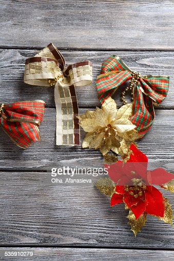 christmas decorations on wooden background : Stock Photo