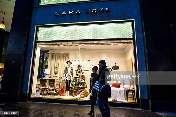 Christmas decorations on Zara Home window display, Milan