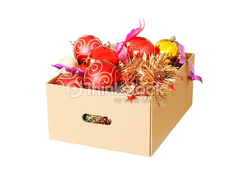 christmas decorations packed away in a cardboard box stock photo - Cardboard Christmas Decorations