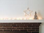Silver Christmas trees, star and lights
