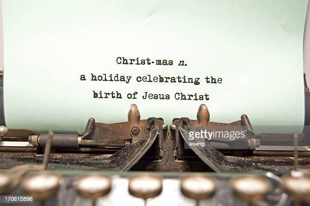 Noël-définition sur l'ancienne machine à écrire