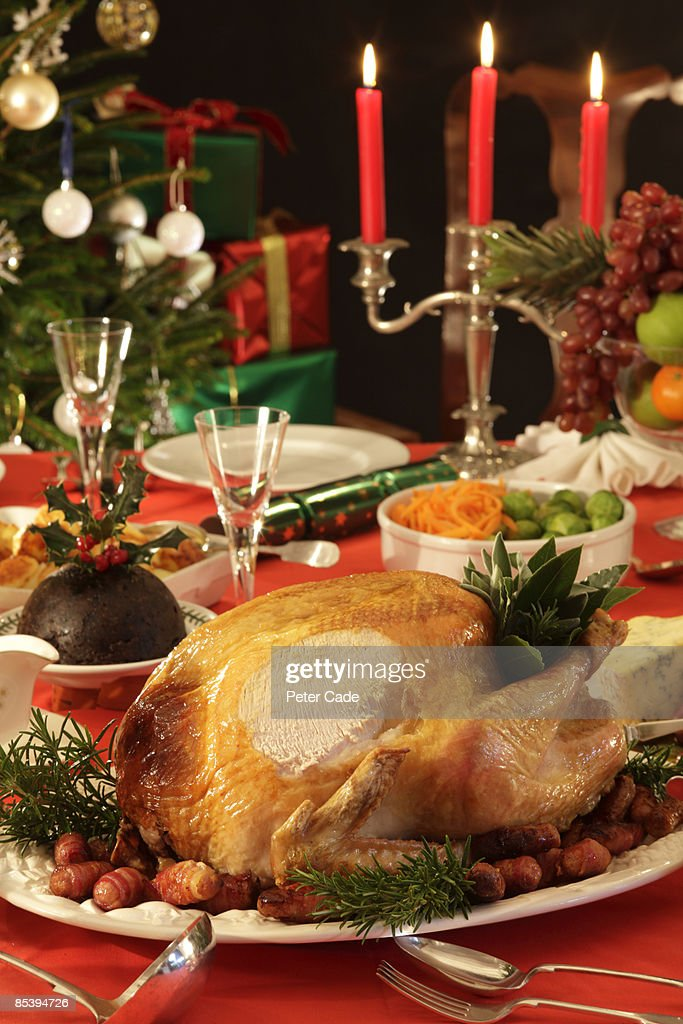 Christmas dinner table : Stock Photo