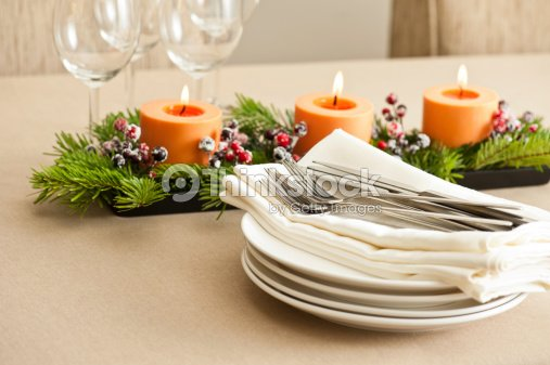 Christmas Dinner Table Setting Stock Photo Thinkstock