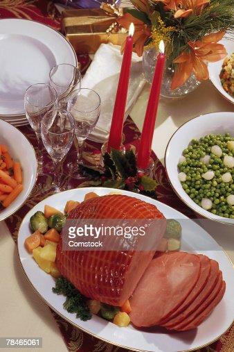 christmas ham dinner table - photo #17