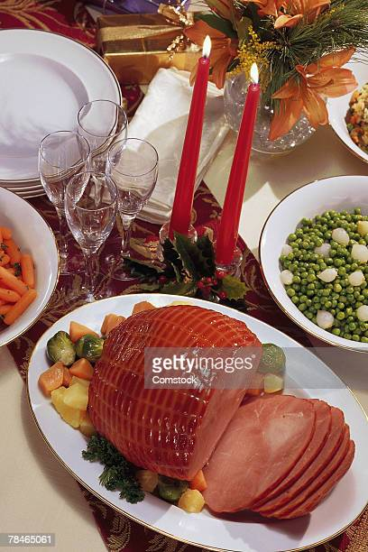 Christmas dinner with ham