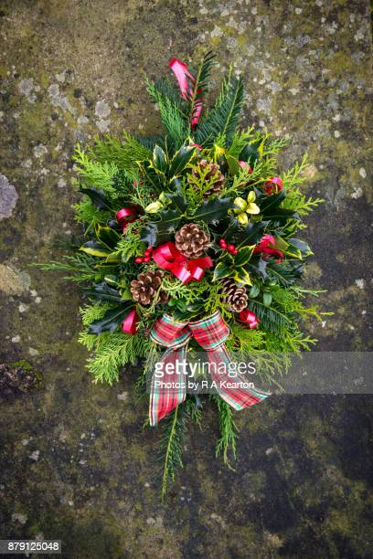 Christmas door wreath/posy with greenery and bows