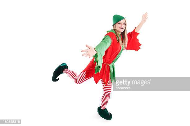Christmas Elf Dancing on White