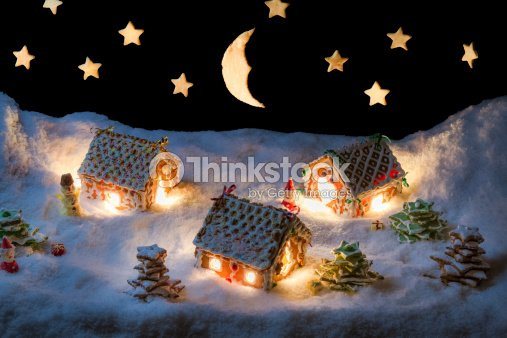 Christmas Eve In The Honeycacke Village Stock Photo