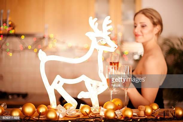 Weihnachts-Abend mit Rentier