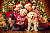 Christmas Family with Dog, Happy Father Mother Child Portrait under Xmas Tree