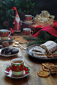 Christmas feast. Homemade cakes for Christmas. Festive mood
