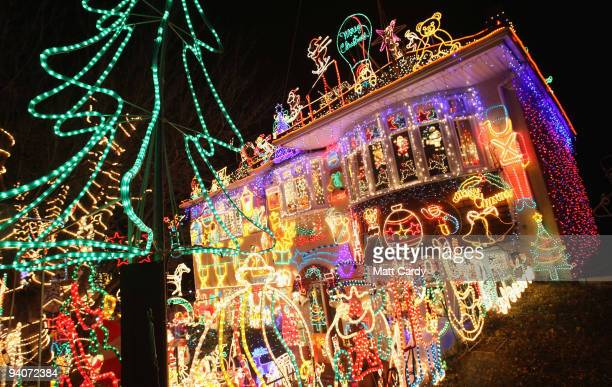 Christmas festive lights adorn a detached house in a suburbian street in Melksham December 5 2009 in Melksham England The lights which involve over...