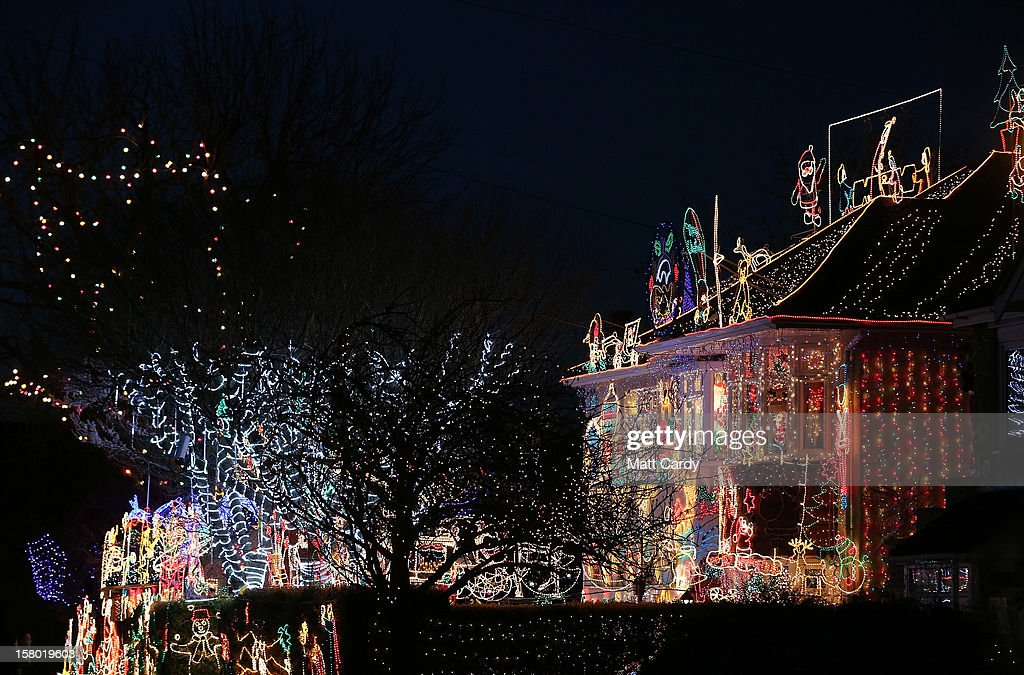 Christmas festive lights adorn a semi-detached house in a suburban street in Melksham, December 8, 2012 in Melksham, England.