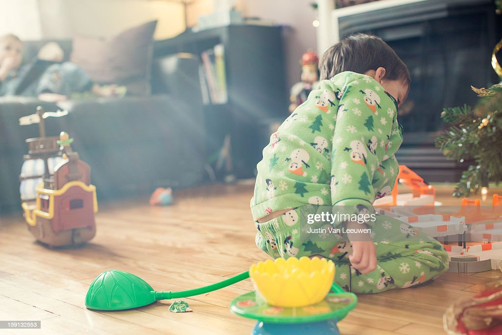 Christmas Finale - opened toys : Stock Photo