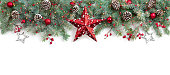 Christmas Border Fir Tree and star On White Background