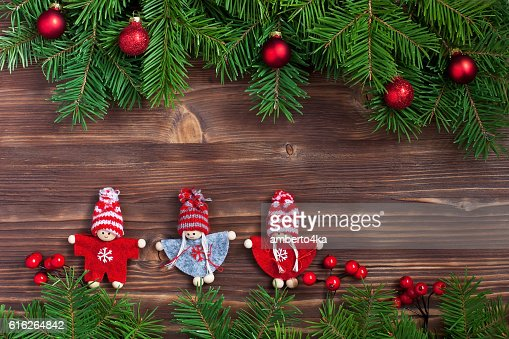 Christmas fir tree with decoration on  wooden board : Stock Photo