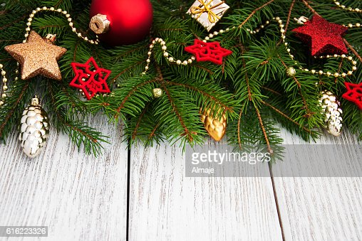 christmas fir tree with decoration : Stock Photo