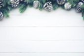 Christmas fir tree with pine branch decoration on white wood.For christmas  background ideas concept