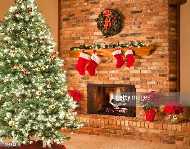 Weihnachten Kamin Feuer-Strümpfe Kranz Poinsettias Dekorationen Wohnzimmer