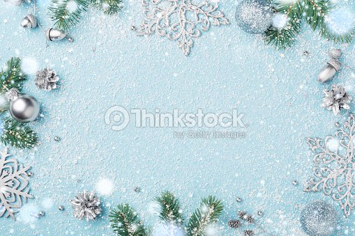 Christmas frame of decoration fir and silver New Year's ornaments. : Stock Photo