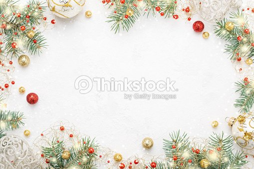 Christmas frame of spruce, red & gold christmas decorations on white space. : Stock Photo