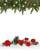 Christmas decoration  four-fifths with balls, snowflakes, cones and gift on white background.