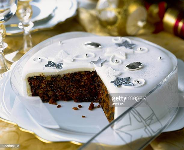 Christmas fruit cake with portion removed