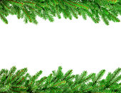 christmas garland isolated on white background with copy space