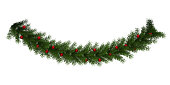Christmas Garland Decoration isolated on white background. 3D render