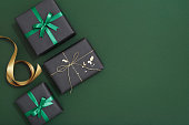 Christmas Ornament, Christmas Decoration, Flat lay, Gift Box, green background