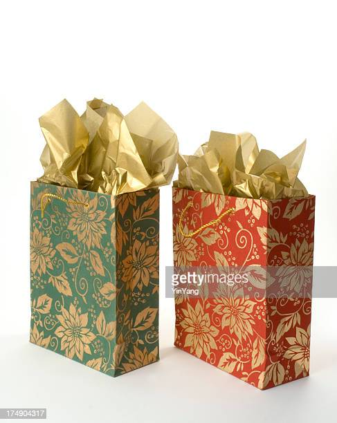 Christmas Gift Bags with Gold Tissue Paper, Wrapped Holiday Presents