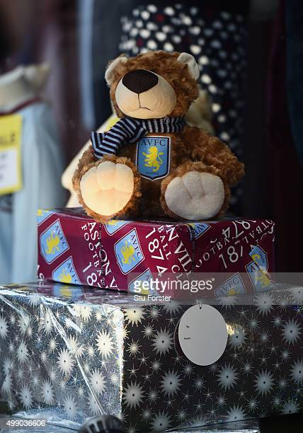 Christmas gift box are displayed at the official merchandise shop prior to the Barclays Premier League match between Aston Villa and Watford at Villa...