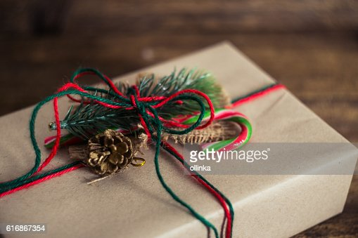 Christmas gift box on a wooden background : Stock Photo