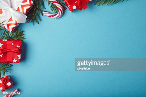 Christmas gift boxes background with christmas decoration : Stock Photo