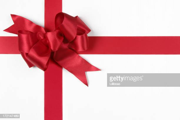 Christmas Gift Red Bow isoliert auf weiss Mit Clipping Path