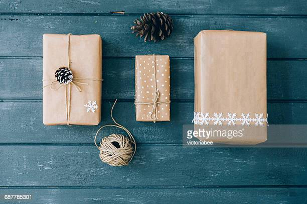 Christmas gifts on a table