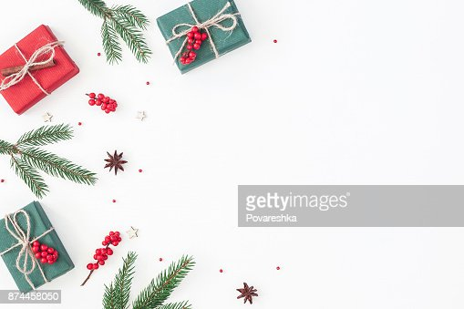 Christmas gifts on white background. Flat lay, top view : Stock Photo