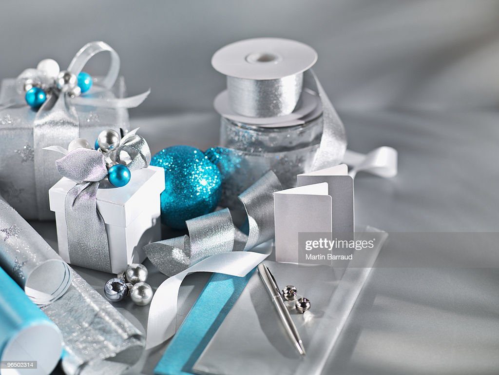 Christmas gifts with ribbon : Stock Photo