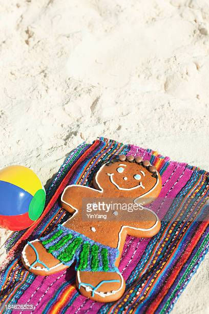 Christmas Ginger Bread Man Winter Vacation on Tropical Beach