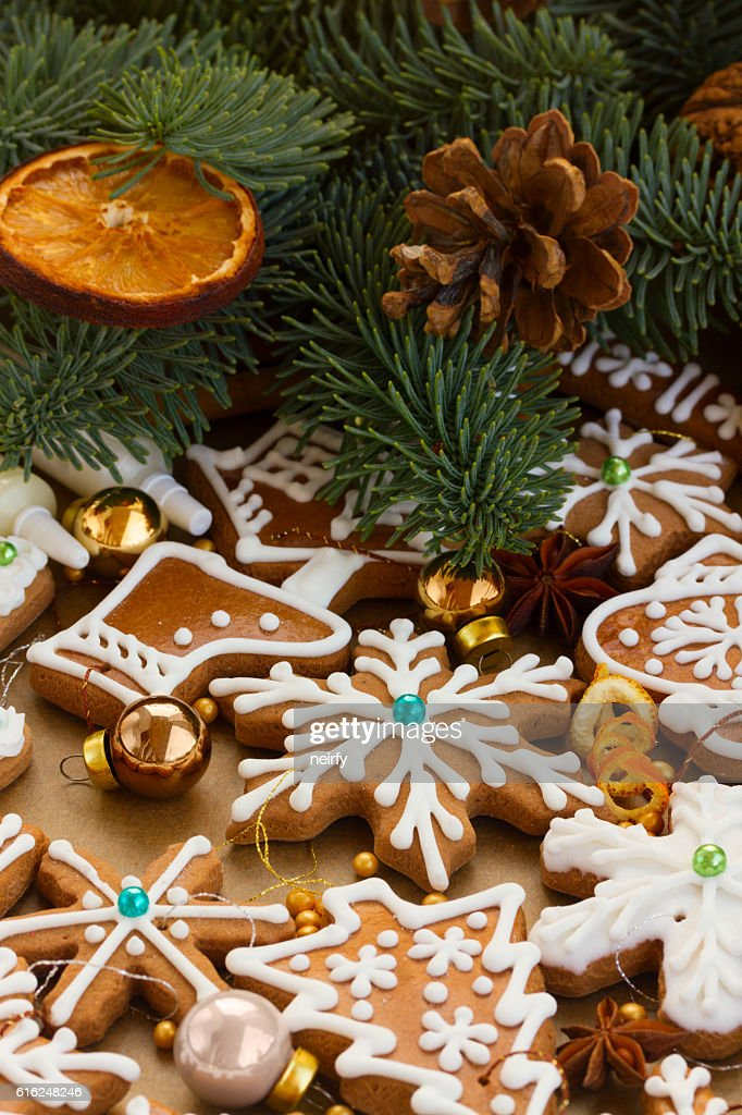christmas gingerbread cookies : Stock Photo