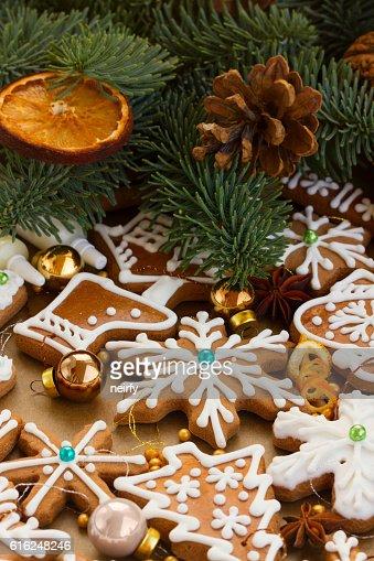 Biscoitos de Gengibre de Natal : Foto de stock