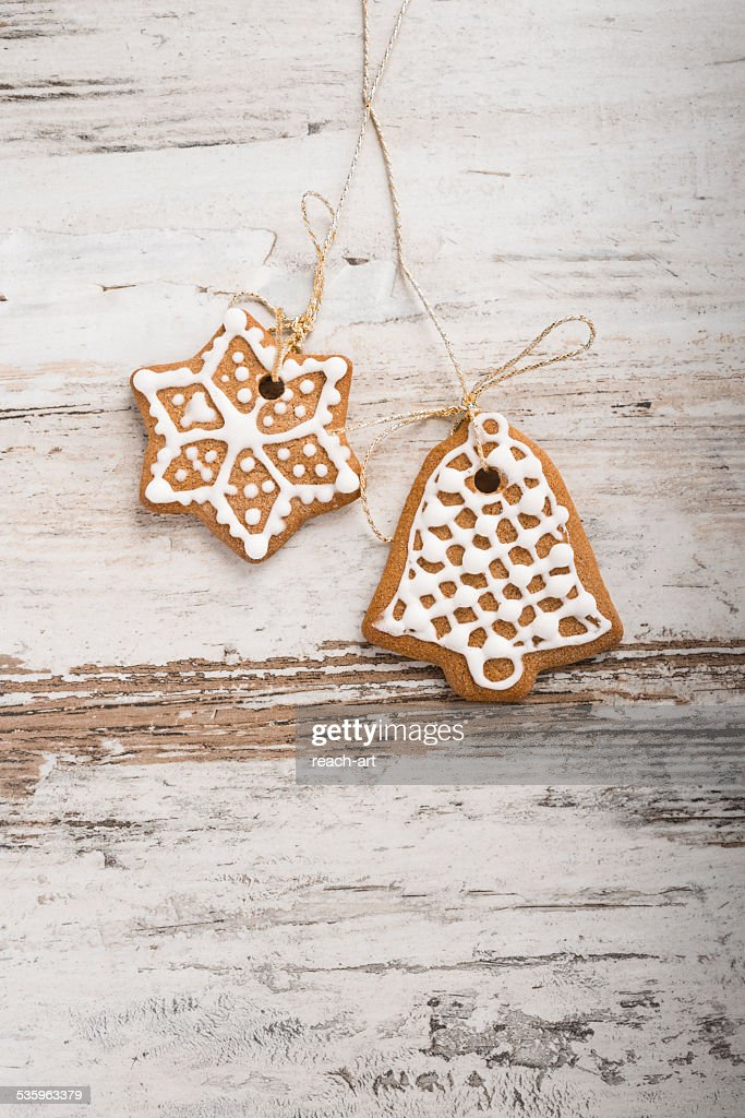 Christmas gingerbread on a wooden table : Stock Photo