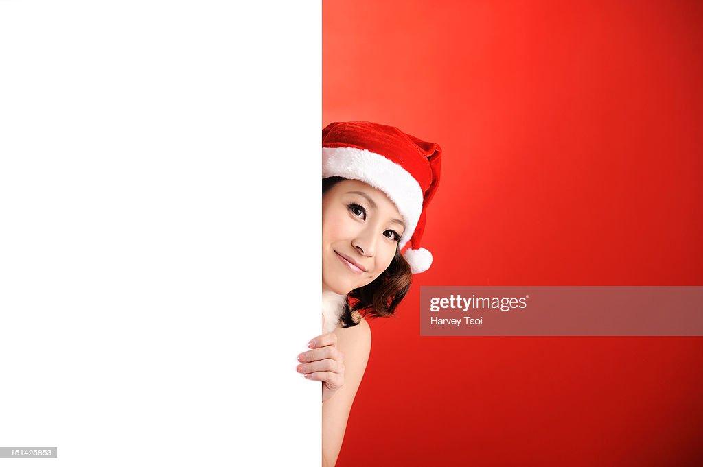 Christmas Girl and Blank Space : Stock Photo